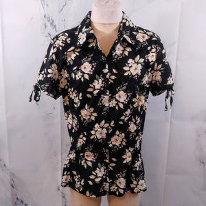 Emma James Brown Floral Button Down Blouse